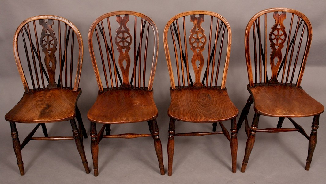 A Harlequin Set of 4 Victorian Kitchen Windsor Chairs