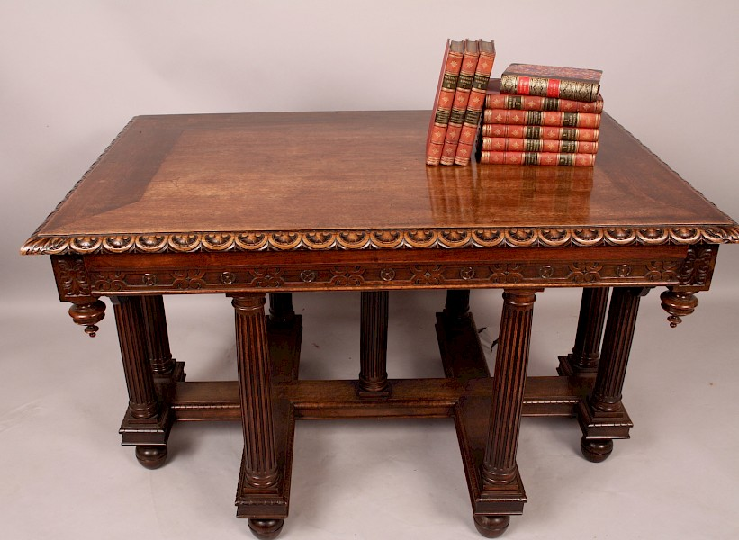Superb Architectural  Centre / Library Table Walnut