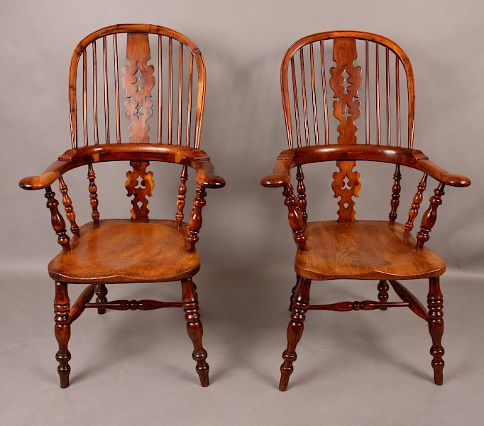Excellent Pair of Yew Wood Broad Arm Windsor Armchairs