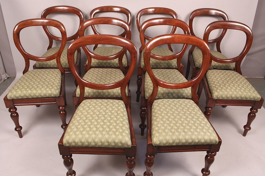 A Set of 10 Balloon Back Dining Chairs