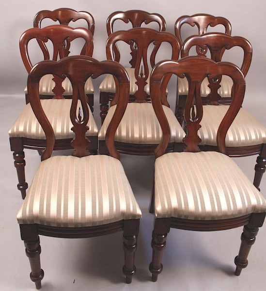 Set of 8, 10 or 12 Victorian Spear point Balloon Back Chairs