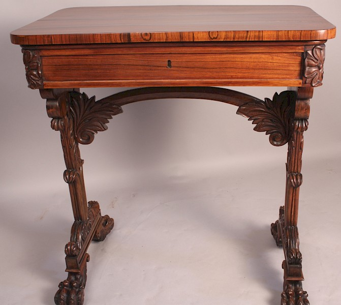 Stunning Quality Small Rosewood Library Table