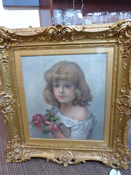 Stunning Oil on Canvas Girl with Flowers Edith Hibbert 1901