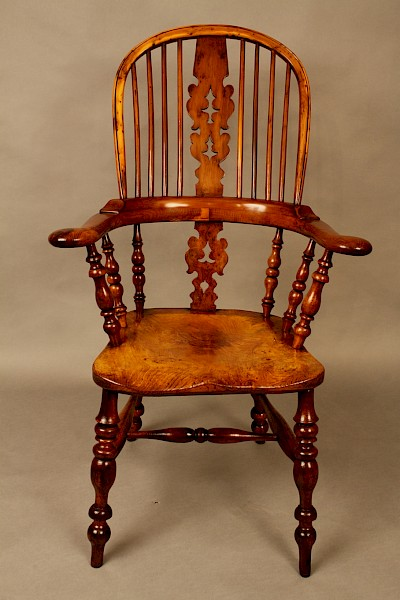 Fine Yew Wood Broad Arm Windsor Armchair