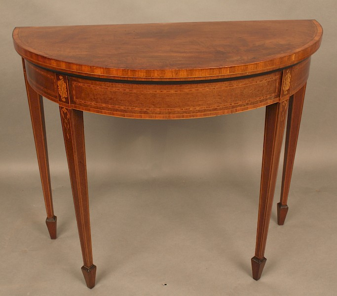 Fine Georgian Demi Lune Card Table Mahogany with Inlay
