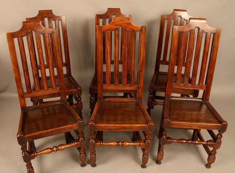 Very Rare Set of Six 17th Century Dining Chairs