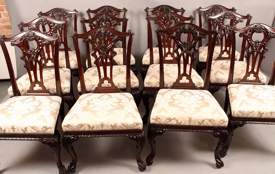 Superb and Rare Set of 12 Chippendale Style Victorian Dining Chairs
