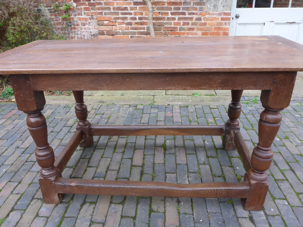 A Small Refectory Table In Oak, Baluster Turned Legs With Outside  Stretchers, A Solid Table In Good Condition. Circa 1750 Dimensions. Length,  170cms.