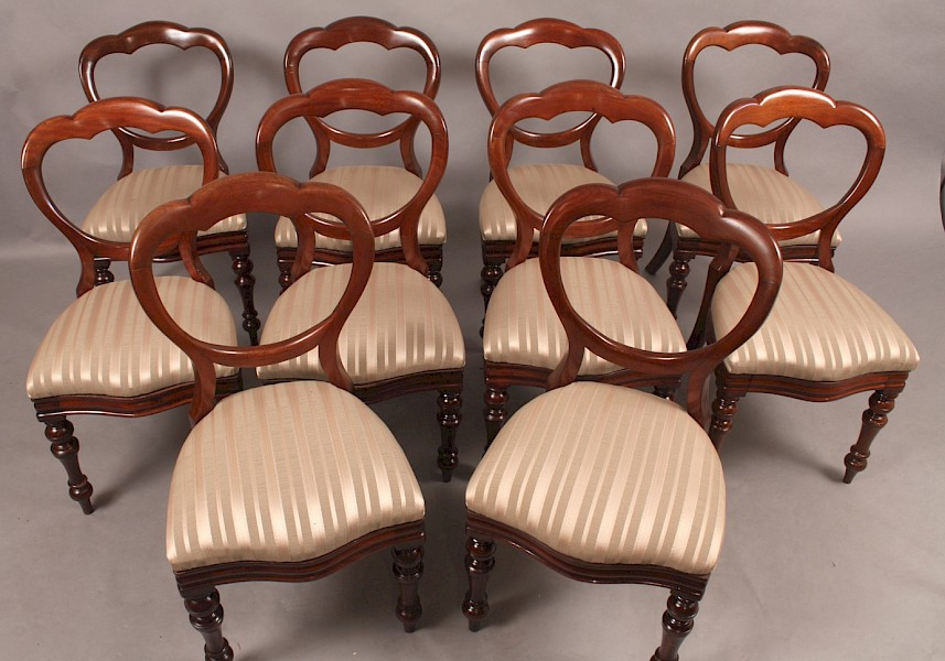 Very Good Set of 10 Victorian Dining Chairs Mahogany