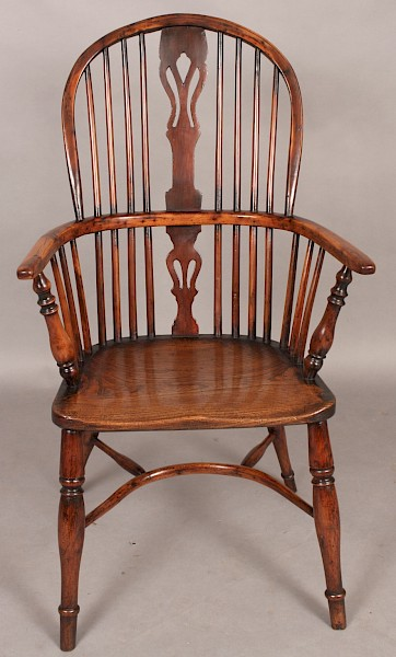 Antique Yew Wood Windsor High Back Rockley