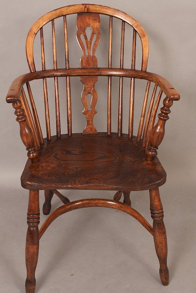 Antique Ash and Elm Low Windsor Armchair
