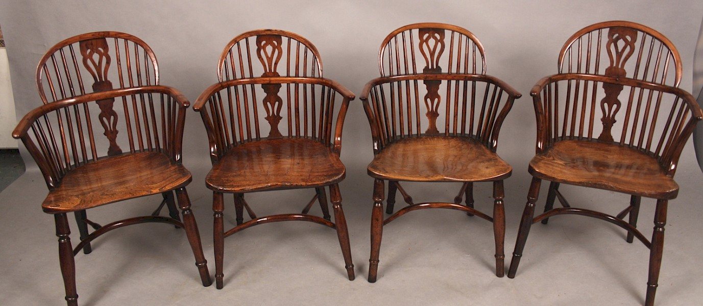 Good Rare Set of 4 East Retford Yew Windsor Chairs