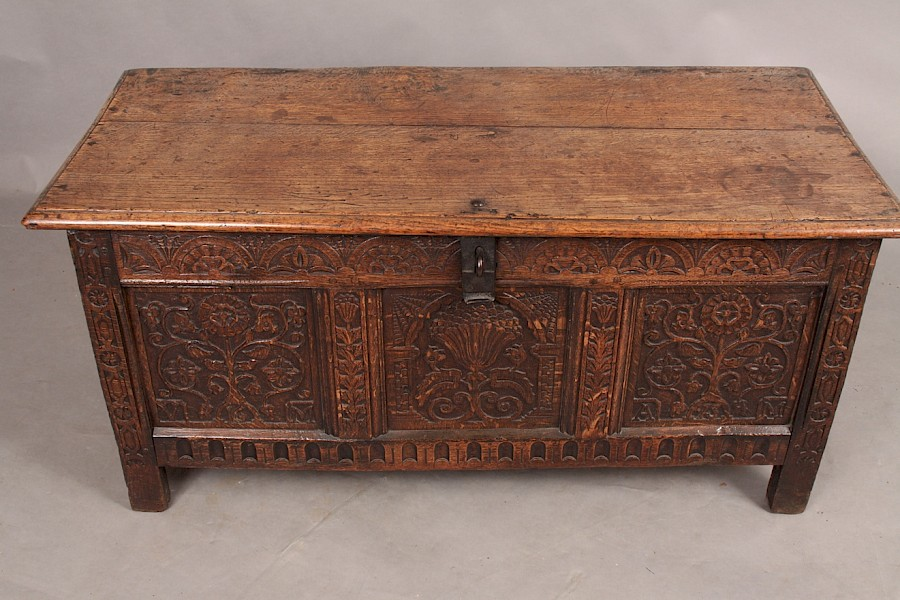 Oak Coffer dated 1673  AM and VM