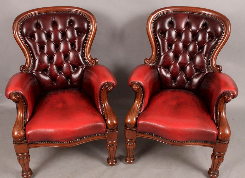 A Good Pair of Gentlemans Library Armchairs Burgundy Leather