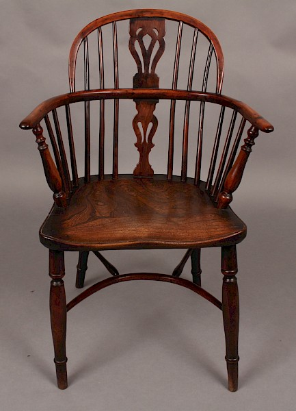 Antique Yew Wood Windsor Low Chair William Wheatland