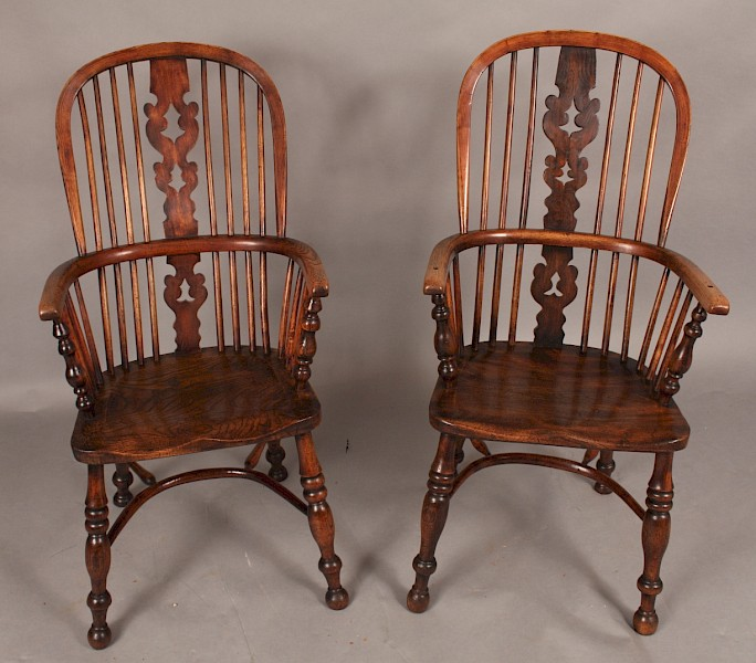 Near Pair of 19th century Ash and Elm Windsor High Back