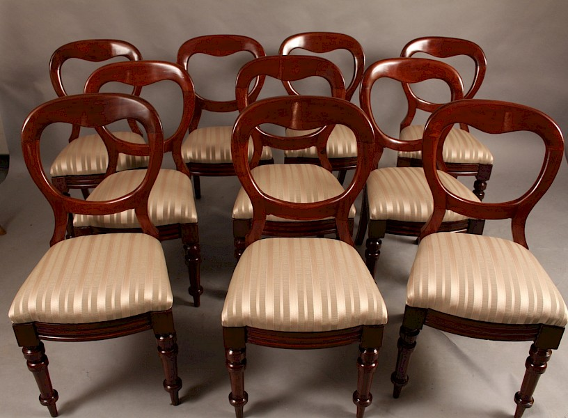 Good set of 10 Victorian Balloon Back Dining Chairs