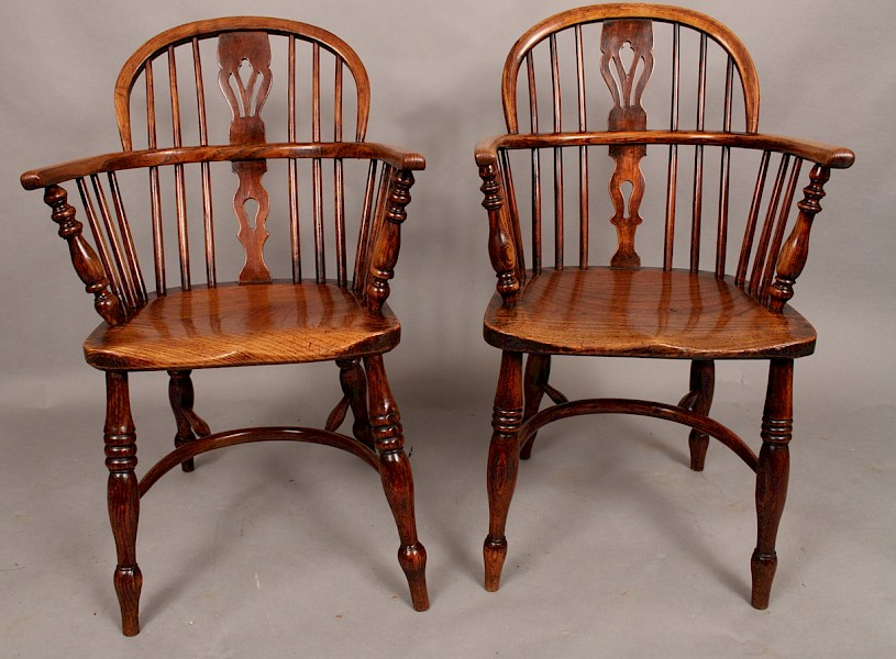 Good near pair of Ash and Elm Low Windsor Armchairs