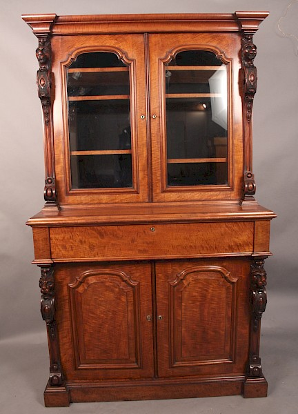 Superb Victorian Library Bookcase with Secretaire