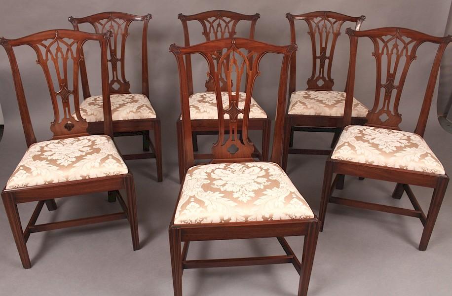A Fine Set of 6 Georgian Mahogany Dining Chairs