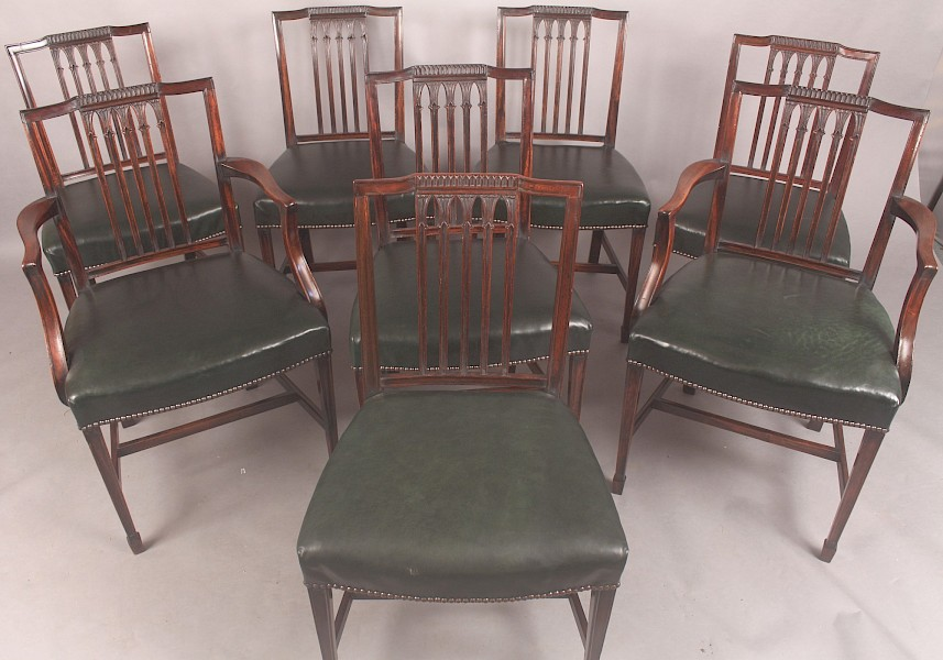 A Set of Eight Sheraton Style Dining Chairs