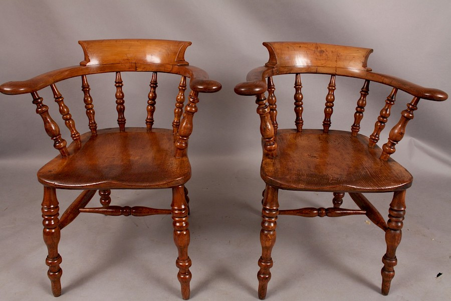 Pair of Fruitwood Captains Chairs 19th century