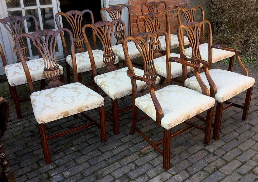 Set of Ten Mahogany Dining Chairs Georgian Style