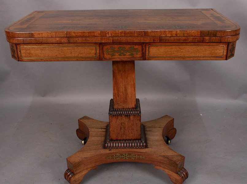 Regency Brass Inlaid Card Table Rosewood