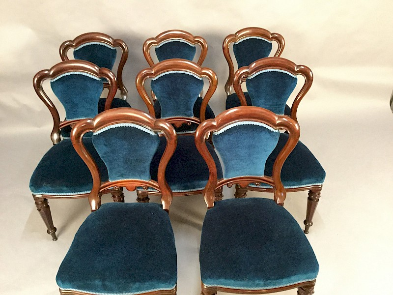 Attractive Set of 8 Victorian mahogany Dining Chairs