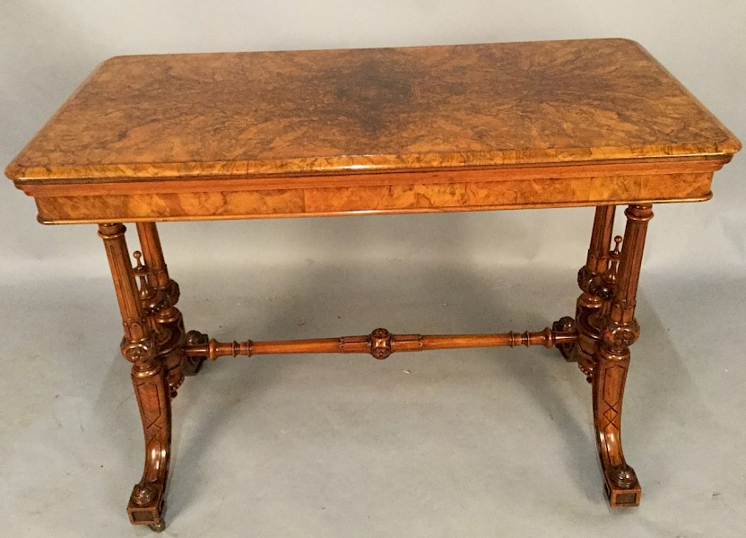 Quality Victorian Burr Walnut Games Table