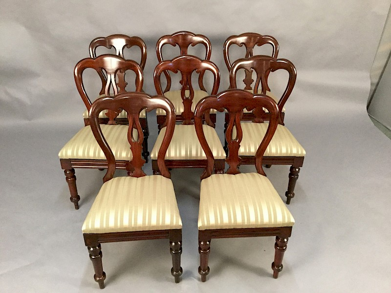 Set of 8 Victorian Mahogany Balloon Back Dining Chairs