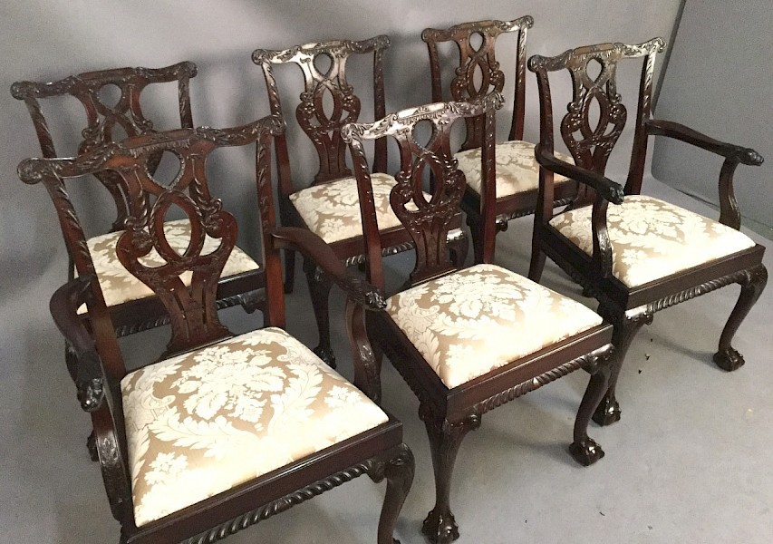 Very Good Set of 6 Irish Chippendale Style Dining Chairs