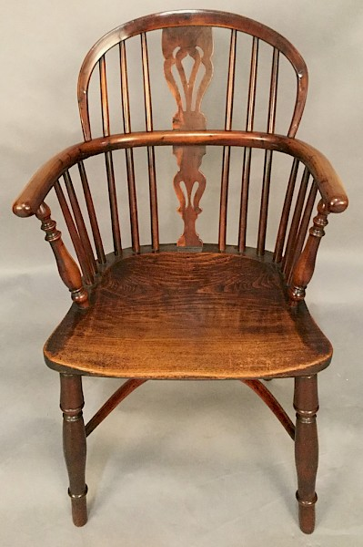 Superb Yew Wood Low Back Windsor Armchair Rockley