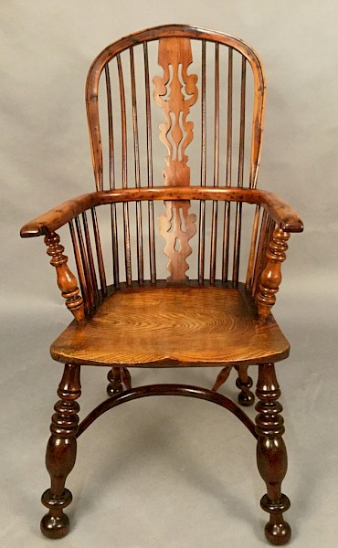 Superb Rare Yew Wood Windsor Armchair