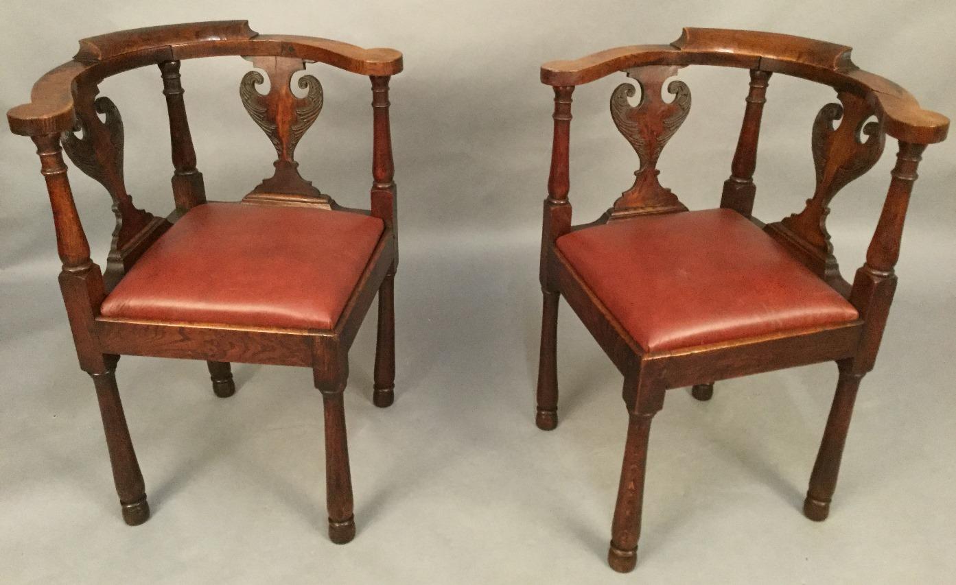 Antique corner chairs - Pair Of Antique Corner Chairs In Oak