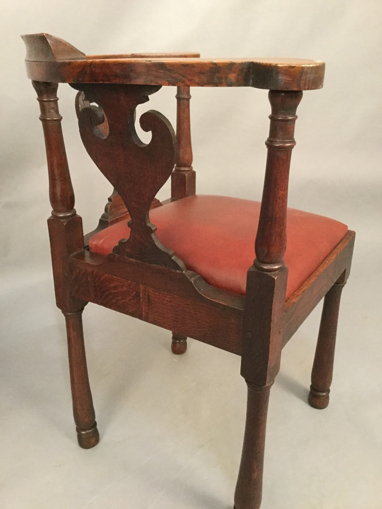 Antique corner chairs - An Attractive Pair Of Corner Chairs In Oak Pleasing Colour And In Excellent Condition The Seat Have Just Been Re Upholstered In Red Leather Circa 1870