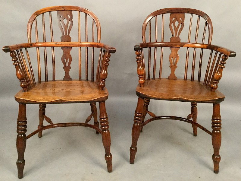 Matching Pair of Yew Wood Windsor Chairs Rockley