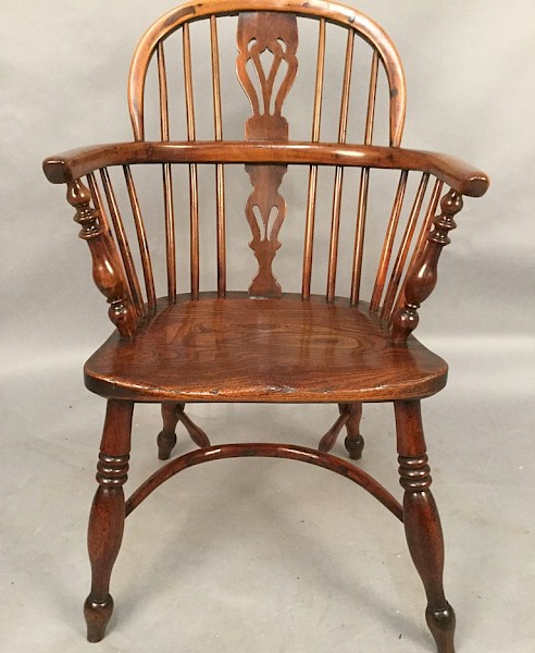 Yew Wood Windsor Chair stamped Fred Walker Rockley