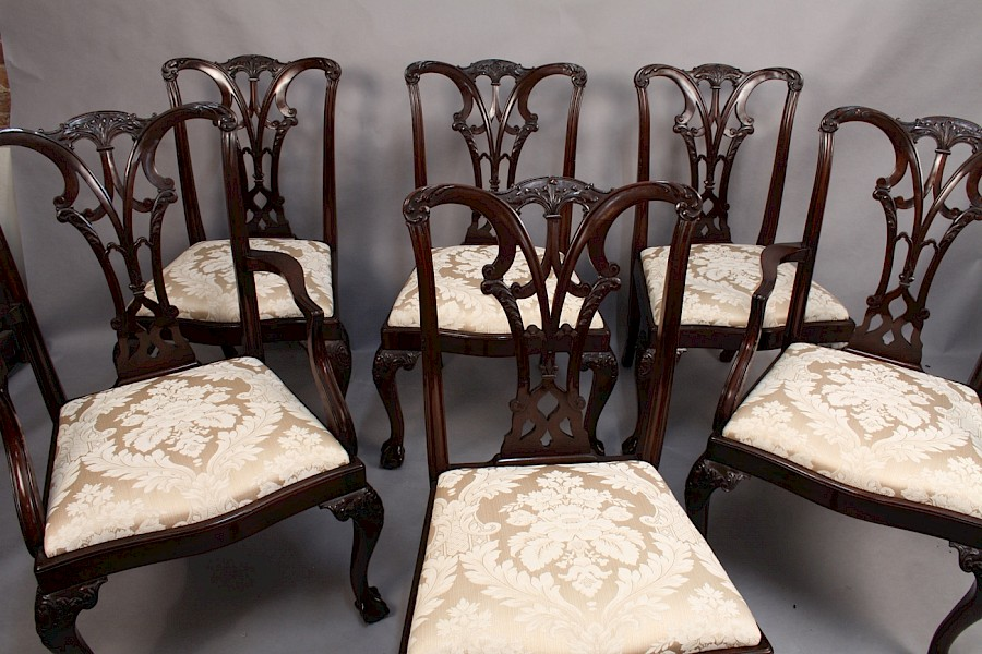A set of six mahogany dining chairs  Chippendale style