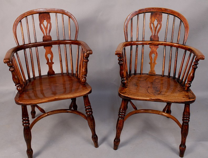A pair of Ash and Elm Low back Windsor chairs