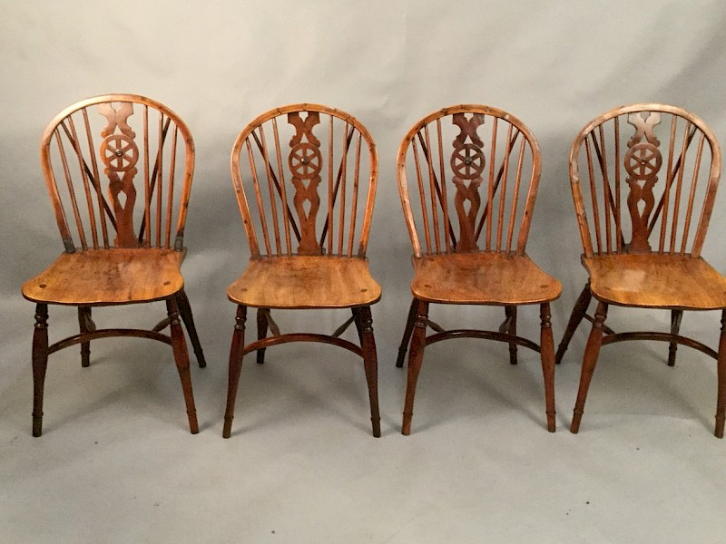 Rare set of 4 Yew Wood Kitchen Chairs Thames Valley