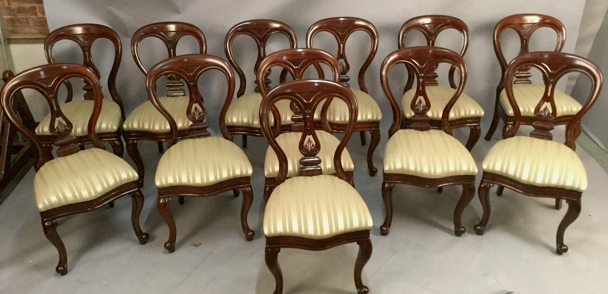 Set of Twelve Victorian Dining Chairs