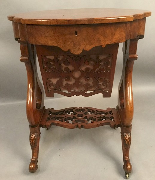 Good Victorian Walnut Sewing Table
