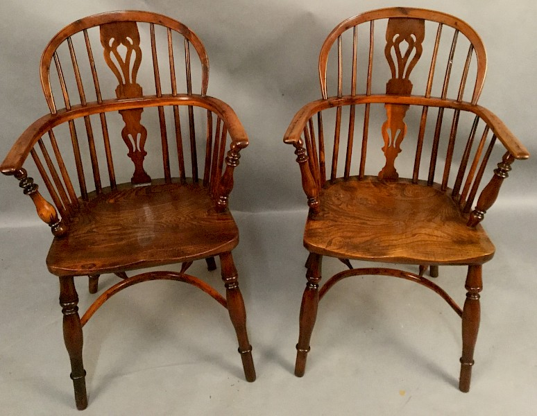 Good Pair of Yew Wood Windsor Chairs c1840