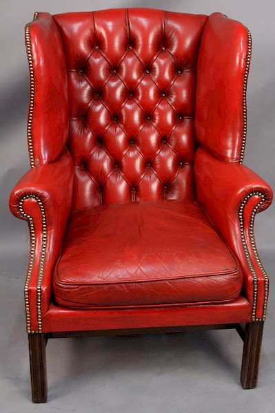 Good Red Leather Wing Armchair