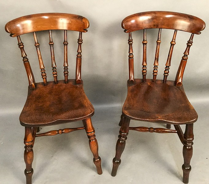 Rare pair of YEW Wood Worksop Kitchen Chairs