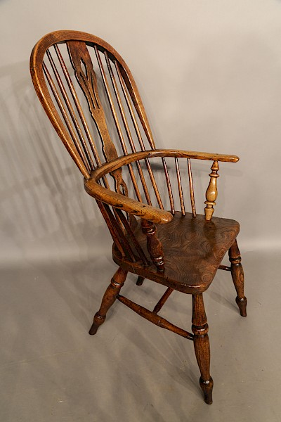 High Back Ash and Elm Windsor Chair