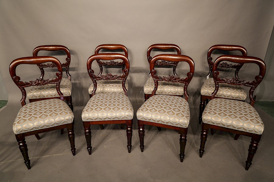 Set of 8 Early Victorian Mahogany Dining Chairs