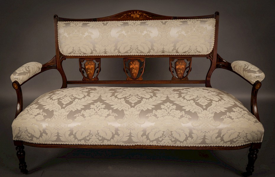 Late Victorian Inlaid Settee
