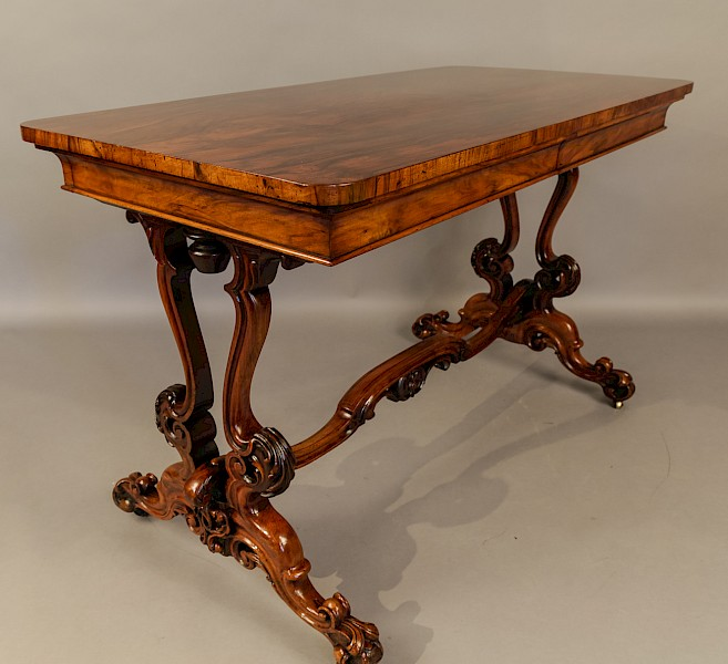 Super Quality Victorian Burr Walnut Library Table